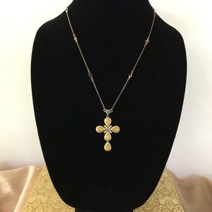 Citrine Cross Pendant Necklace and Amethyst Chain